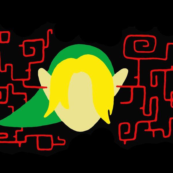 Zelda-themed artwork of Link listening to sinister music