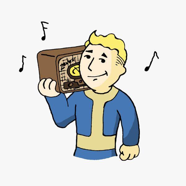 Vault Boy holding an old fashioned radio