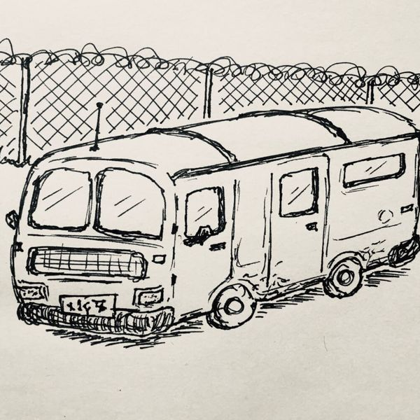 Ink drawing of a ratty old van in a ratty old car park