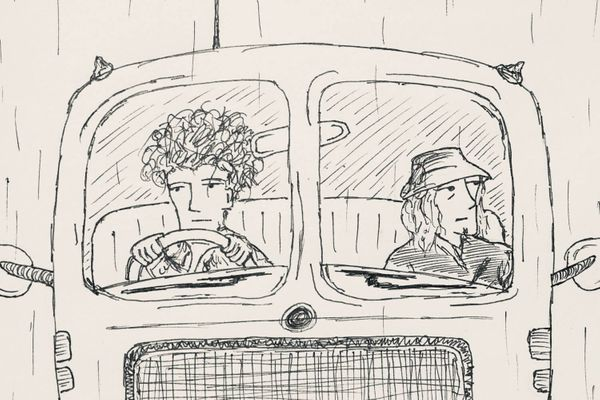 Ink drawing of two men in the front seat of a minibus